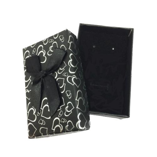 Necklace & Earrings Gift Box, Black Heart Patterned