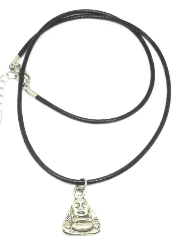 Sitting Buddha black cord necklace