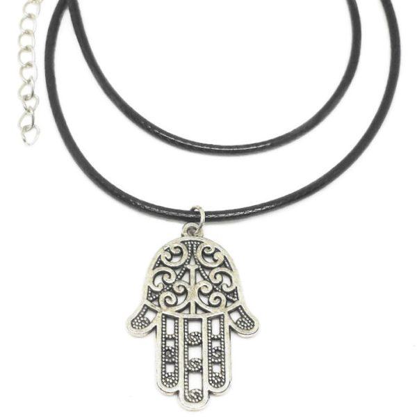 Hand of Fatima black cord necklace