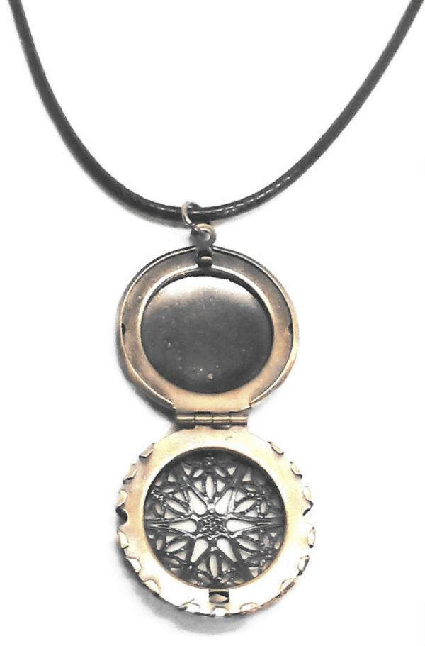 Bronze locket black cord necklace
