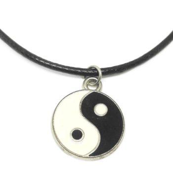 Yin Yang black cord necklace