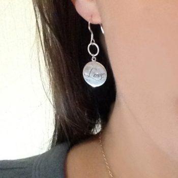 Love pendant 925 sterling silver circular earrings
