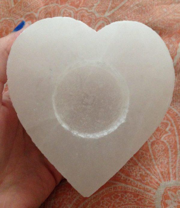 Selenite crystal heart shaped tea light candle holder