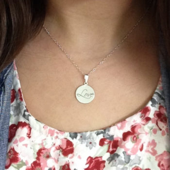 Love engraved 925 sterling silver circular pendant necklace