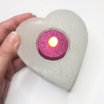 Selenite Heart Tealight Holder