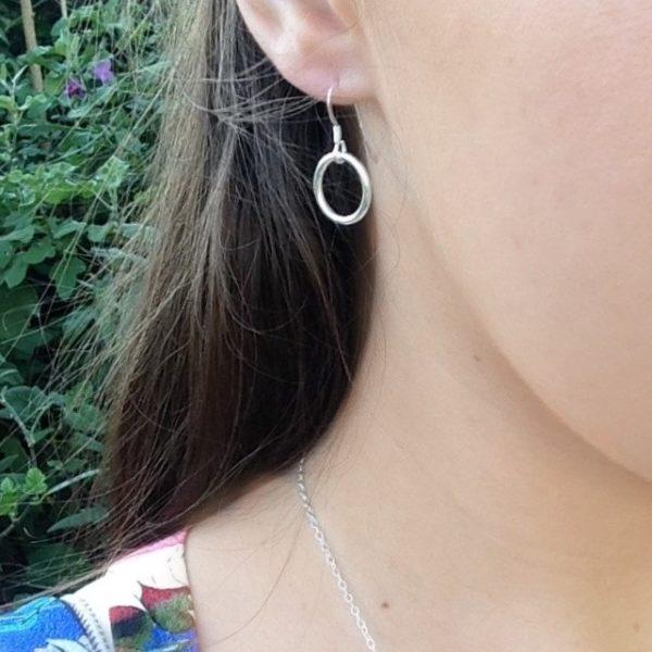 Circle of Karma sterling silver pendant earrings