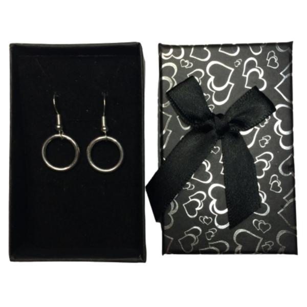 Circle of Karma Drop Chain Earrings in black gift box