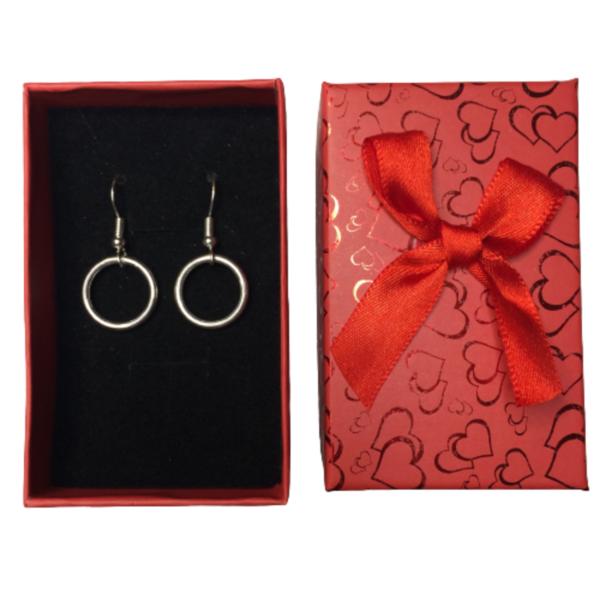 Circle of Karma Drop Chain Earrings in red gift box