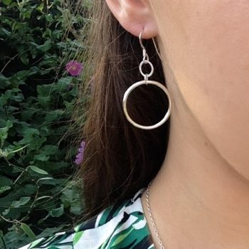 Double Circle of Karma sterling silver pendant earrings
