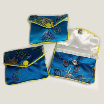 Small jewellery bags - blue zipped pouches
