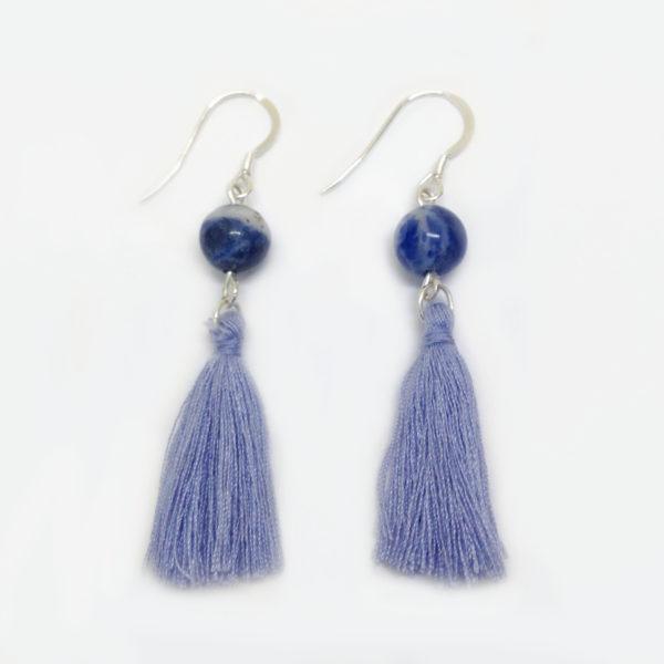 Sodalite gemstone bead tassel earrings