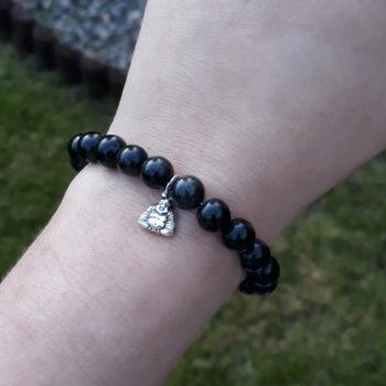 Black Obsidian Elastic Customisable Charm Bracelet