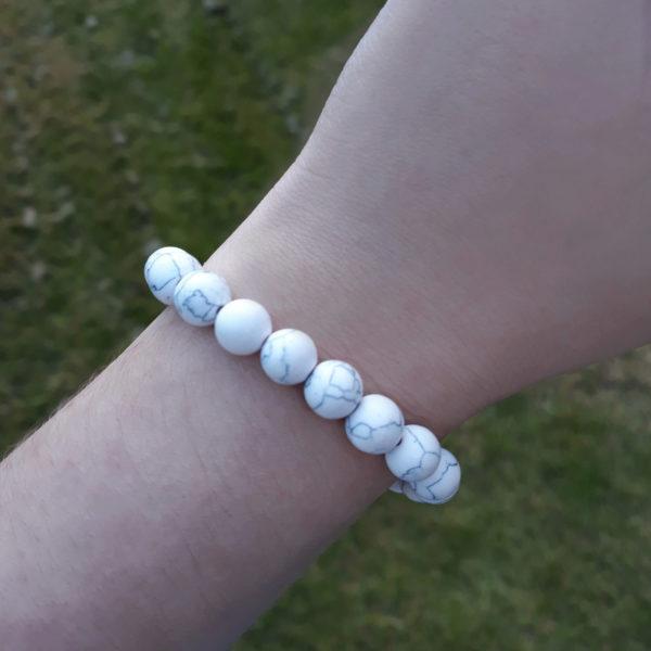 Howlite Elastic Customisable Charm Bracelet
