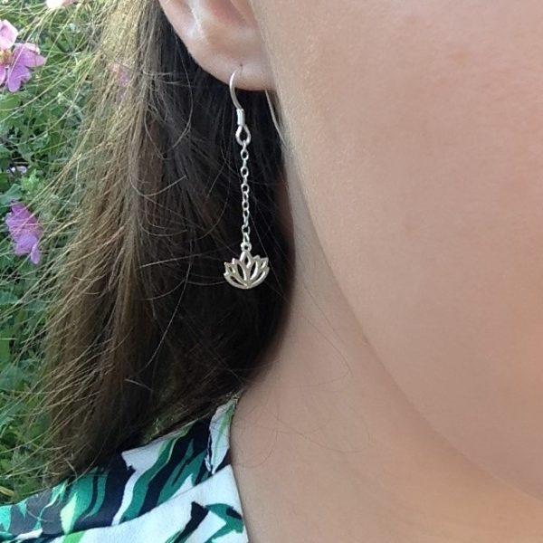 Lotus Drop Chain Earrings, 925 Sterling Silver