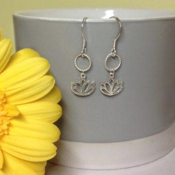 Lotus Circle of Karma Earrings, 925 Sterling Silver