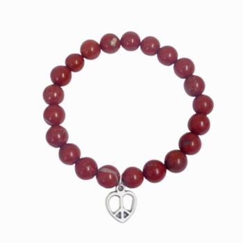 Red Jasper Elastic Customisable Charm Bracelet
