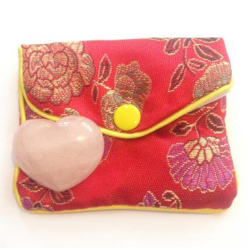 Rose Quartz heart crystal with gift bag