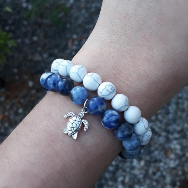 Sodalite and Howlite Elastic Customisable Charm Bracelets