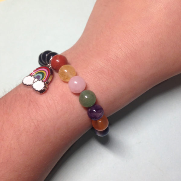 Black Obsidian rainbow elastic bracelet with charm