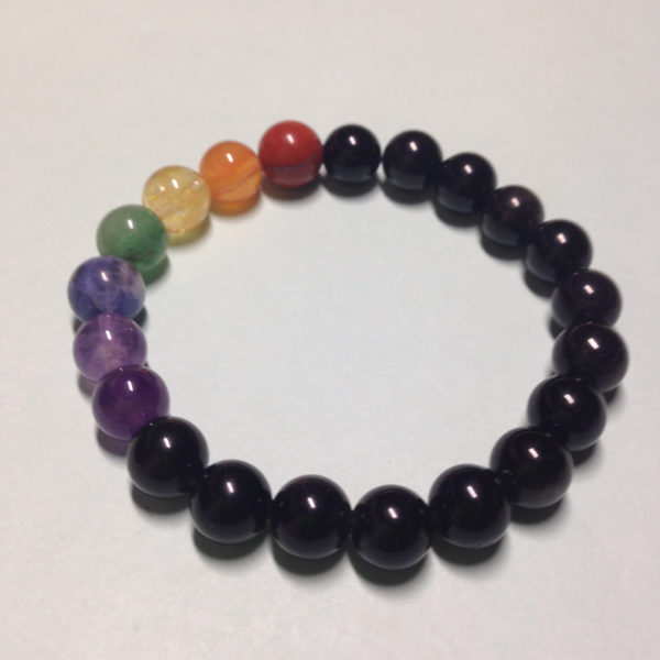 Black Obsidian rainbow elastic bracelet without charm