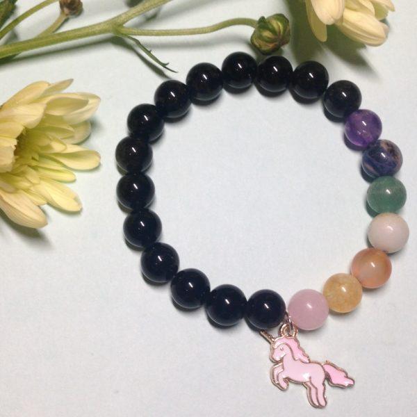 Black Obsidian unicorn elastic handmade gemstone bracelet