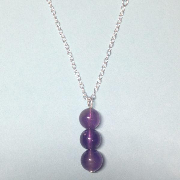 Amethyst triple bead 925 sterling silver necklace
