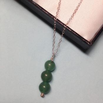Aventurine triple bead 925 sterling silver necklace