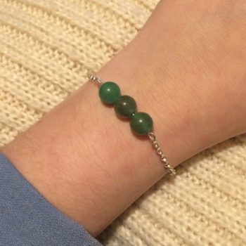 Aventurine Chain Bracelet. 3 amethyst crystal beads with 925 Sterling Silver chain and clasp