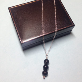 Black Obsidian triple bead 925 sterling silver necklace