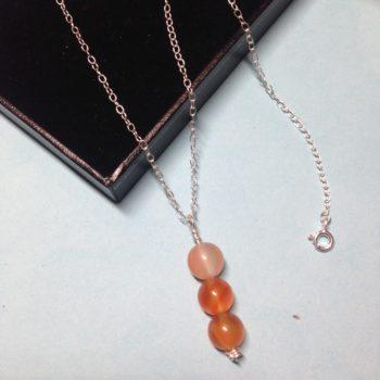 Carnelian triple bead 925 sterling silver necklace