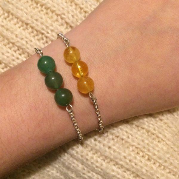 Citrine & Aventurine 925 Chain Bracelets, Handmade Her Next Smile