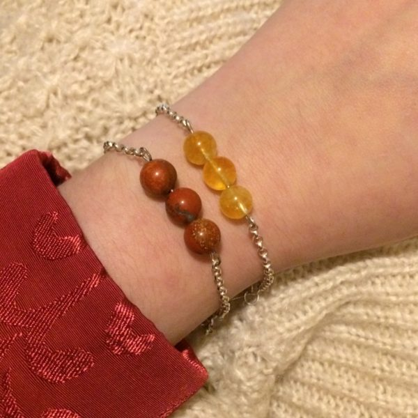 Citrine & Red Jasper 925 Chain Bracelets, Handmade Her Next Smile