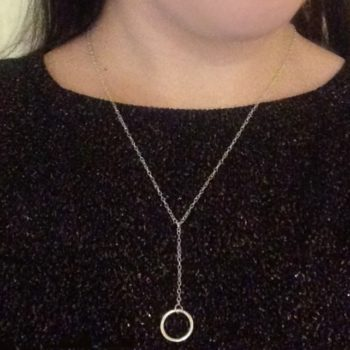 Small Drop Chain Circle of Karma Pendant 925 Sterling Silver Handmade Necklace