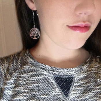 Tree of Life, Drop Chain Earrings, 925 Sterling Silver