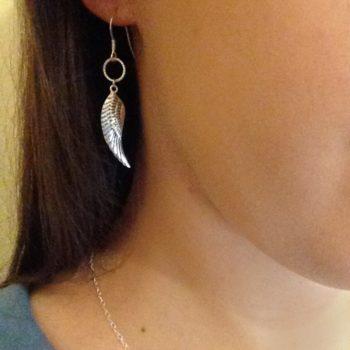 Drop Circle Angel Wing Handmade 925 Sterling Silver Earrings
