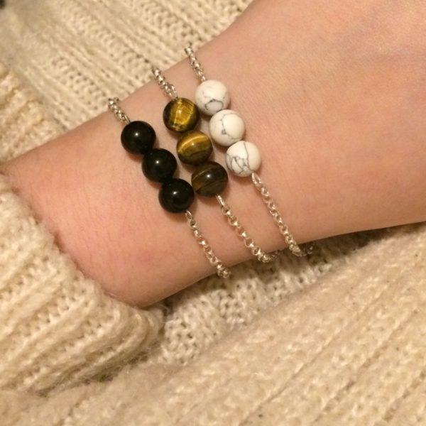 Howlite, Tiger's Eye and Black Obsidian 925 Chain Bracelets