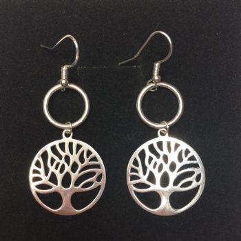 Tree of Life, Circle of Karma Earrings, 925 Sterling Silver
