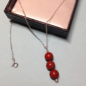 Red Jasper triple bead 925 sterling silver necklace