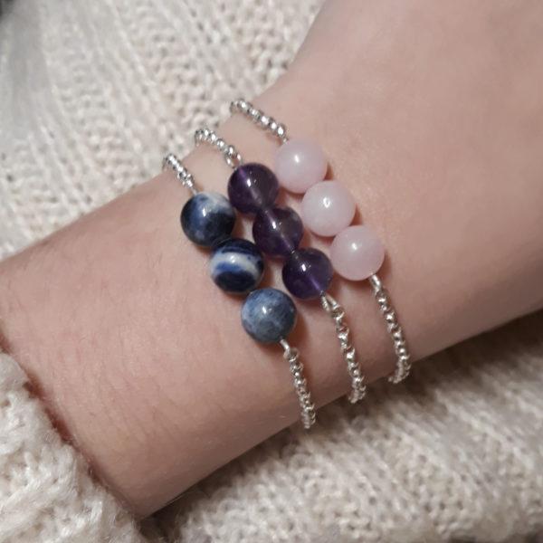 Rose Quartz, Amethyst, Sodalite crystal chain handmade bracelet