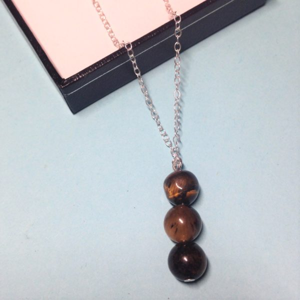 Tiger's Eye triple bead 925 sterling silver necklace