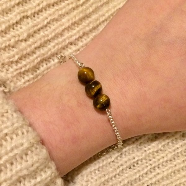 Tiger's Eye Chain Bracelet. 3 amethyst crystal beads with 925 Sterling Silver chain and clasp
