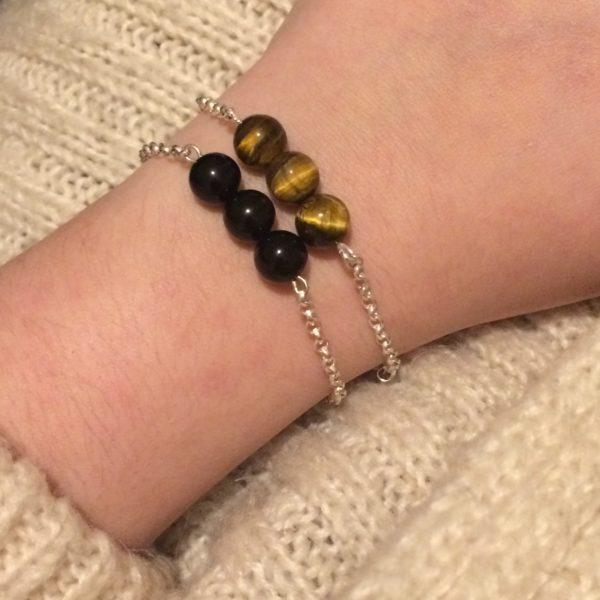 Tiger's Eye and Black Obsidian 925 Chain Bracelets