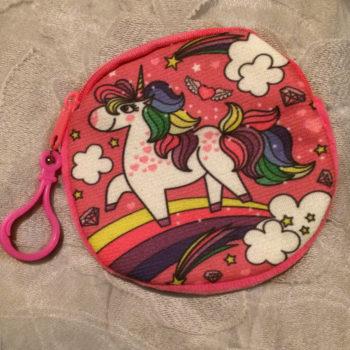Unicorn Gift Bag, Dark Pink Zipped Pouch