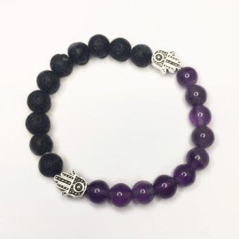 Amethyst gemstone and Lava Rock Bead Bracelet