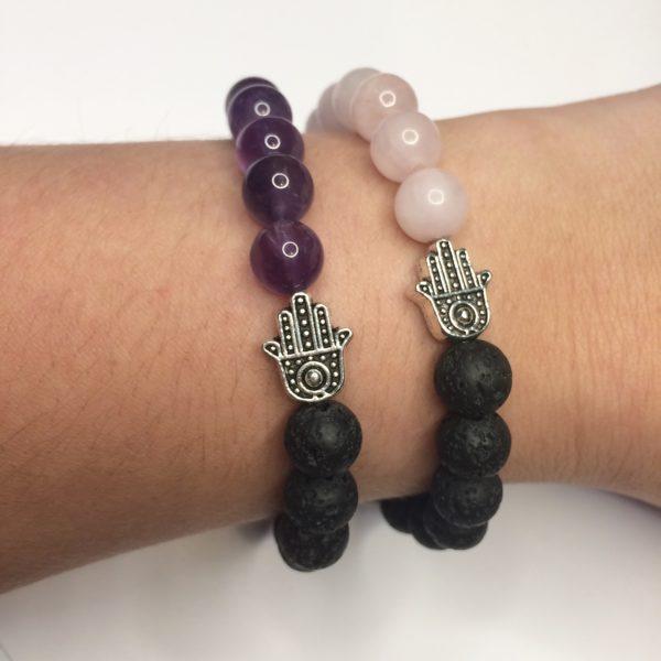 Amethyst gemstone and rose quartz gemstone bead bracelets with lava rock Beads