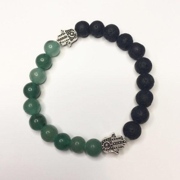 Aventurine & Lava Rock Bead Bracelet