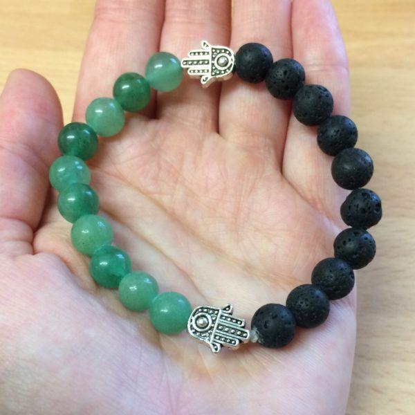 Aventurine, Lava Rock Bead, Hand of Fatima Bracelet