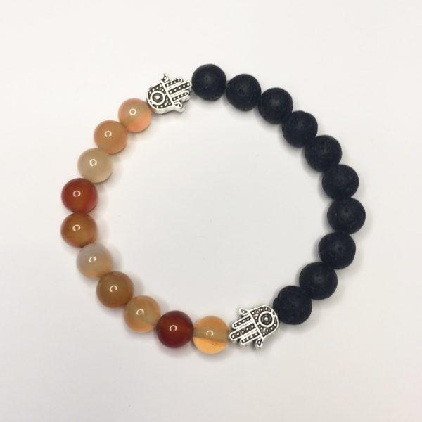 Carnelian & Lava Rock Bead Bracelet