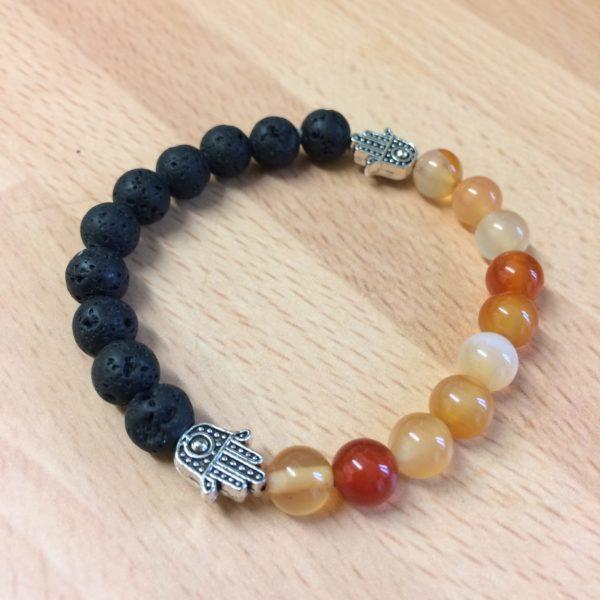 Carnelian, Lava Rock Bead, Hand of Fatima Bracelet