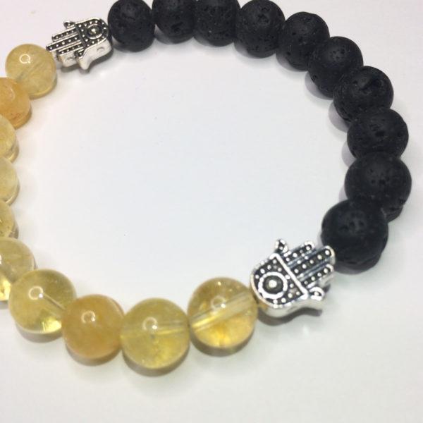 Citrine, Lava Bead and Hand of Fatima Handmade Bracelet